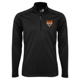 Syntrel Black Interlock 1/4 Zip-Primary Athletics Mark