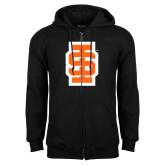 Black Fleece Full Zip Hoodie-Interlocking IS - Two Color