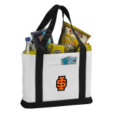 Contender White/Black Canvas Tote-Interlocking IS - 2 Color