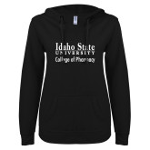 ENZA Ladies Black V Notch Raw Edge Fleece Hoodie-Idaho State University College Pharmacy