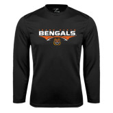 Syntrel Performance Black Longsleeve Shirt-Football Ball Design