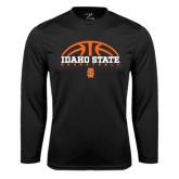 Performance Black Longsleeve Shirt-Basketball Ball Design