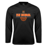 Performance Black Longsleeve Shirt-Basketball Net Design