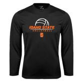 Performance Black Longsleeve Shirt-Volleyball Ball Design