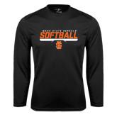Performance Black Longsleeve Shirt-Softball Bar Design