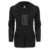 ENZA Ladies Black Light Weight Fleece Full Zip Hoodie-Interlocking IS Glitter
