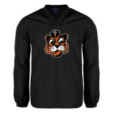 V Neck Black Raglan Windshirt-Vintage Mascot Head