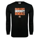 Black Long Sleeve TShirt-Idaho State University Bengals Stacked