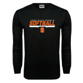 Black Long Sleeve TShirt-Softball Bar Design