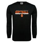 Black Long Sleeve TShirt-Softball Bar Design
