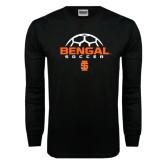 Black Long Sleeve TShirt-Soccer Ball Design