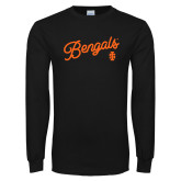 Black Long Sleeve T Shirt-Script Bengals