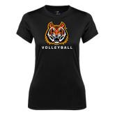 Ladies Syntrel Performance Black Tee-Volleyball