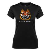 Ladies Syntrel Performance Black Tee-Softball