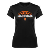 Ladies Syntrel Performance Black Tee-Basketball Ball Design