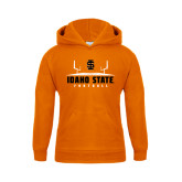 Youth Orange Fleece Hoodie-Football Field Design