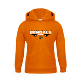 Youth Orange Fleece Hoodie-Football Ball Design