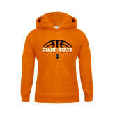 Youth Orange Fleece Hoodie-Basketball Ball Design