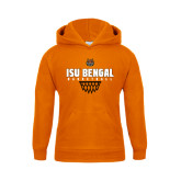 Youth Orange Fleece Hoodie-Basketball Net Design
