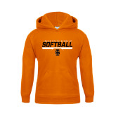 Youth Orange Fleece Hoodie-Softball Bar Design