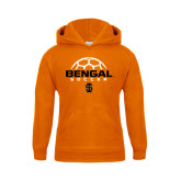 Youth Orange Fleece Hoodie-Soccer Ball Design