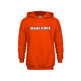 Youth Orange Fleece Hoodie-Idaho State Wordmark