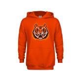 Youth Orange Fleece Hoodie-Bengal Head Distressed