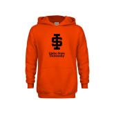 Youth Orange Fleece Hoodie-Instituional Mark Stacked