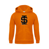 Youth Orange Fleece Hoodie-Interlocking IS