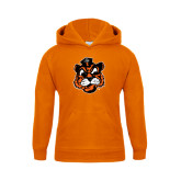 Youth Orange Fleece Hoodie-Vintage Mascot Head