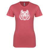 Next Level Ladies SoftStyle Junior Fitted Pink Tee-Bengal Head