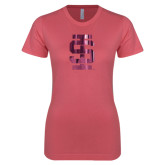 Next Level Ladies SoftStyle Junior Fitted Pink Tee-Interlocking IS Foil