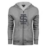 ENZA Ladies Grey Fleece Full Zip Hoodie-Interlocking IS Glitter