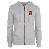ENZA Ladies Grey Fleece Full Zip Hoodie-Interlocking IS - Two Color