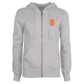 ENZA Ladies Grey Fleece Full Zip Hoodie-Interlocking IS - One Color