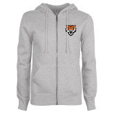 ENZA Ladies Grey Fleece Full Zip Hoodie-Primary Athletics Mark