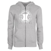 ENZA Ladies Grey Fleece Full Zip Hoodie-Pharmacy Seal