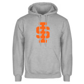 Grey Fleece Hoodie-Interlocking IS