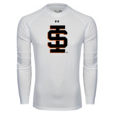 Under Armour White Long Sleeve Tech Tee-Interlocking IS