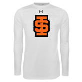Under Armour White Long Sleeve Tech Tee-Interlocking IS - Two Color
