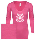 ENZA Ladies Hot Pink Long Sleeve V Neck Tee-Bengal Head