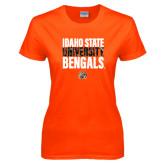 Ladies Orange T Shirt-Idaho State University Bengals Stacked