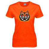 Ladies Orange T Shirt-Bengal Head Distressed