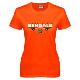 Ladies Orange T Shirt-Football Ball Design