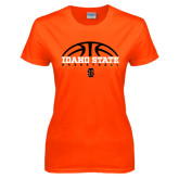 Ladies Orange T Shirt-Basketball Ball Design