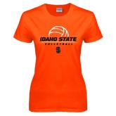 Ladies Orange T Shirt-Volleyball Ball Design