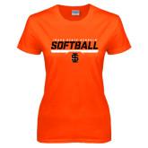 Ladies Orange T Shirt-Softball Bar Design
