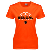 Ladies Orange T Shirt-Soccer Ball Design