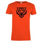 Ladies Orange T Shirt-Primary Athletics Mark - One Color