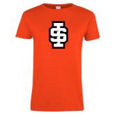 Ladies Orange T Shirt-Interlocking IS - 2 Color